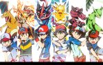 1boy :d alternate_costume arm_up baseball_cap black_hair brown_eyes charizard clenched_teeth column_lineup crossed_arms fire greninja grin hat infernape krookodile looking_at_viewer male_focus multiple_persona nintendo open_mouth pikachu pokemon pokemon_(anime) pokemon_(creature) pokemon_(game) pokemon_bw pokemon_dppt pokemon_rgby pokemon_rse pokemon_sm pokemon_sm_(anime) pokemon_xy pokemon_xy_(anime) satoshi-greninja satoshi_(pokemon) satoshi_(pokemon)_(classic) sceptile short_hair smile split_screen teeth time_paradox