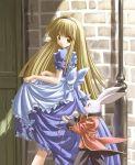 1girl alice_(wonderland) alice_in_wonderland annoyed apron blonde_hair brown_eyes frills long_hair pocket_watch rabbit solo ueda_ryou walking watch white_rabbit