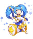 1girl alternate_costume animal_ears armor armored_boots armored_dress blue_eyes blue_hair boots fang hair_ornament hammer highres kezi league_of_legends long_hair looking_at_viewer magical_girl pointy_ears poppy sitting skirt solo star star_guardian_poppy twintails yordle