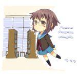 cardigan glasses library lowres mizuki_makoto nagato_yuki school_uniform serafuku suzumiya_haruhi_no_yuuutsu