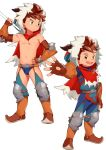 1boy armor boots brown_eyes brown_hair bulge cape fingerless_gloves gauntlets gloves highres hood leather leather_gloves male_focus monster_hunter monster_hunter_stories outstretched_arm rider_(armor) ryuuto_(monster_hunter_stories) shirtless shoulder_armor simple_background smile spiky_hair tanaka_(tanakasunsun) white_background