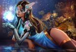 1girl dark_skin flower mechanical_arm overwatch parted_lips partially_submerged ripples solo symmetra_(overwatch) thigh-highs visor water yang_fan