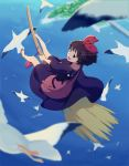 1girl :d aka-shiro animal artist_name bag bare_legs bird black_cat black_hair blurry broom broom_riding brown_shoes cat depth_of_field dress flying from_above from_behind full_body hair_ribbon hairband harbor island jiji_(majo_no_takkyuubin) kiki long_sleeves looking_at_viewer looking_back looking_up majo_no_takkyuubin no_socks ocean open_mouth over_shoulder perspective purple_dress red_ribbon ribbon round_teeth satchel seagull shoes short_hair sitting smile solo teeth water