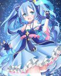 1girl blue_eyes blue_hair choker dress fingerless_gloves garter hatsune_miku highres open_mouth ribbons solo stars tagme wand yuki_miku