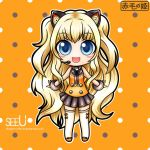 1girl animal_ears blonde_hair blue_eyes cat_ears chibi cuffs headphones korean long_hair looking_at_viewer miniskirt necktie nekomimi open_mouth seeu simple_background solo stockings tagme tattoo thigh_highs vocaloid wavy_hair