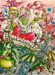 cape christmas cymbal_(dragon_ball) dragon_ball dragon_quest fangs flying gift gift_bag green_skin hell highres horns lee_(dragon_garou) oni piccolo pulling red_nose slime_(dragon_quest) tambourine_(dragon_ball) throne turban wings