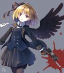 1girl 2016 bayonet black_gloves black_legwear black_ribbon black_skirt black_wings blonde_hair bow bowtie buttons commentary cowboy_shot dated eyes_visible_through_hair feathered_wings gloves gothic_lolita grey_background gun hair_ornament hair_over_one_eye hair_ribbon handgun holding holding_gun holding_weapon holster jacket lolita_fashion long_sleeves looking_at_viewer m1911 makadamixa necktie original outstretched_arms paint_splatter pantyhose parted_lips pistol pleated_skirt red_eyes ribbon short_hair signature simple_background single_wing skirt solo thigh_holster trigger_discipline vest weapon wing_collar wings