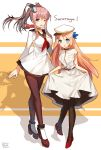 2girls ;d absurdres alternate_costume ascot bison_cangshu black_legwear blonde_hair blue_eyes breast_pocket breasts brown_hair character_name choker cosplay costume_switch crossover curtsey dated dress dress_lift grey_eyes grey_eyes hair_ornament hairclip height_difference highres kantai_collection large_breasts legs_crossed long_hair mary_janes multiple_girls namesake one_eye_closed open_mouth pantyhose pleated_skirt ponytail red_neckerchief red_shoes revision sailor_dress saratoga_(kantai_collection) saratoga_(kantai_collection)_(cosplay) saratoga_(zhan_jian_shao_nyu) saratoga_(zhan_jian_shao_nyu)_(cosplay) school_uniform seamed_legwear serafuku shadow shoes side-seamed_legwear signature sketch skirt smile standing watson_cross weibo_username white_dress zhan_jian_shao_nyu