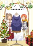 2girls :d :o backpack bag bangs bell bow box brown_eyes c.jam-packed christmas_ornaments christmas_tree coat commentary_request cover cover_page doujin_cover fur-trimmed_coat gift gift_box green_eyes grey_hair high-waist_skirt highres hoshizora_rin long_hair long_sleeves love_live! love_live!_school_idol_project minami_kotori multiple_girls one_side_up open_mouth orange_hair pleated_skirt purple_bow red_skirt scarf short_hair skirt smile steepled_fingers window_shopping