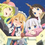 5girls black_bow blonde_hair blue_eyes blush bow breasts brown_hair clock dragon_girl elma_(maidragon) giant gloves gradient_hair green_eyes hair_bow hat horn horns kadowaki_miku kanna_kamui kobayashi-san_chi_no_maidragon kobayashi_(maidragon) large_breasts looking_down looking_up lowres lucoa maid maid_headdress multicolored_hair multiple_girls necktie night night_sky official_art one_eye_closed open_mouth pink_sweater red_necktie redhead room scarf sky smile star_(sky) sweatdrop sweater television tooru_(maidragon) white_hair window yellow_eyes