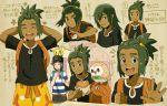 2boys arms_behind_head backpack bag bangs bangs_pinned_back baseball_cap black_hair black_hat black_shirt capri_pants character_sheet dark_skin dark_skinned_male eating green_hair grey_eyes hair_ornament hairclip hat hau_(pokemon) jupiter_(042073) malasada male_focus male_protagonist_(pokemon_sm) multiple_boys pants pikachu pokemon pokemon_(creature) pokemon_(game) pokemon_sm rowlet shirt short_hair short_ponytail shorts smile soda_cup striped striped_shirt swept_bangs t-shirt upper_body waving yellow_shorts