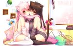 2girls ahoge animal_ears asymmetrical_docking bell black_legwear blush bow breast_press breasts brown_hair cat_ears cat_tail cheek-to-cheek dress highres indoors jingle_bell large_breasts long_hair looking_at_viewer mia_flatpaddy multiple_girls original pillow pink_hair red_eyes ribbon scarf shared_scarf shia_flatpaddy sideboob sitting sweater sweater_dress syroh tail tail_bell tail_bow tail_ribbon thigh-highs wariza white_legwear zettai_ryouiki