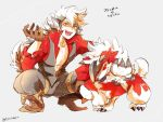 animal_ears boots claws crossover fang fire_emblem fire_emblem_if flannel_(fire_emblem_if) gloves grin looking_at_viewer lycanroc male_focus pokemon pokemon_(creature) pokemon_(game) pokemon_sm smile tail torisudesu wolf wolf_ears wolf_tail