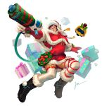 1girl adapted_costume bangs belt boots box breasts brown_eyes brown_hair capelet christmas closed_mouth dress drone energy_gun floating fur-lined_boots fur_boots fur_gloves fur_trim gift gift_box gloves gun hat highres holding holding_gun holding_weapon jing_mu knee_boots machinery mei_(overwatch) nose overwatch pointing ray_gun red-framed_eyewear red_dress red_gloves red_ribbon ribbon ribbon-trimmed_legwear ribbon_trim robot santa_costume shoes short_dress short_hair signature simple_background snowball_(overwatch) solo spiked_shoes spikes stuffed_animal stuffed_toy swept_bangs tassel thigh-highs weapon white_background white_legwear