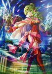 1girl artist_request bracelet breasts cape chiki choker cleavage crown dress fire_emblem fire_emblem:_kakusei fire_emblem_cipher garter_straps gloves green_eyes green_hair hair_ornament hair_ribbon jewelry long_hair pink_legwear pointy_ears red_dress red_gloves ribbon short_dress solo thigh-highs zettai_ryouiki