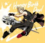 1boy action blonde_hair blue_eyes boots chains decoponmagi denim final_fantasy final_fantasy_xv fingerless_gloves full_body gloves grin gun happy_birthday holding holding_gun holding_weapon jeans male_focus one_eye_closed pants prompto_argentum smile solo star starry_background vest weapon yellow_background