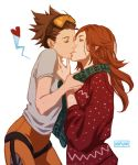 2girls artist_name bodysuit brown_hair closed_eyes cowboy_shot emily_(overwatch) eyelashes freckles goggles goggles_on_head heart highres kiss long_hair long_sleeves multiple_girls nipuni orange_bodysuit orange_hair overwatch scarf shirt short_hair short_sleeves simple_background smile spiky_hair spoken_heart sweater thigh_strap tracer_(overwatch) white_background white_shirt yuri