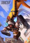 1girl artist_name blurry bodysuit brown_hair character_name depth_of_field dual_wielding english goggles grin gun handgun holding holding_gun holding_weapon house number orange_bodysuit outdoors overwatch pistol short_hair smile solo svetlana_tigai tracer_(overwatch) traffic_light upside-down weapon
