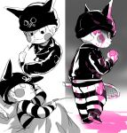 1boy animal ball blanket blood blush_stickers cat closed_eyes closed_mouth commentary_request danganronpa_(series) danganronpa_v3:_killing_harmony fake_horns from_side full_body grey_background hat highres holding holding_animal horns hoshi_ryouma jacket leather leather_jacket male_focus pants pink_blood racket shiny shiny_clothes sleeping standing striped striped_pants suurin_(ksyaro) tennis_ball tennis_racket
