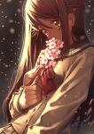 1girl bangs blush branch breasts buttons cherry_blossoms covered_mouth eyebrows_visible_through_hair flower grey_skirt hair_between_eyes hair_ornament hairclip half_updo holding holding_flower leaning_back light_particles long_hair long_sleeves looking_at_viewer love_live! love_live!_sunshine!! medium_breasts motion_blur nagareboshi pink_flower pleated_skirt red_ribbon redhead ribbon sakurauchi_riko school_uniform serafuku skirt solo upper_body