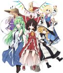 6+girls alice_margatroid antenna_hair aqua-lia arm_up arms_behind_back blonde_hair blue_eyes book boots bow braid breasts broom brown_eyes brown_hair crystal detached_sleeves doll dress flandre_scarlet frog_hair_ornament gloves green_eyes green_hair grin hair_ornament hairband hakurei_reimu hand_on_hip hat highres japanese_clothes kirisame_marisa kochiya_sanae long_hair looking_back miko mini-hakkero moriya's_iron_rings moriya_suwako multiple_girls necktie open_mouth pyonta red_eyes ribbon shanghai_doll shirt shoes short_hair side_ponytail skirt smile snake_hair_ornament socks thigh-highs touhou v_arms vest white_legwear wings witch_hat yellow_eyes zettai_ryouiki