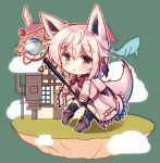 1girl :o animal_ears bangs blush boots bow bowtie brown_eyes chibi clouds coat fantasy floating_island flying_whale fox_ears fox_girl fox_tail hair_between_eyes holding holding_staff house looking_at_viewer lowres misaki_yuu_(dstyle) original parted_lips red_bow red_bowtie short_hair silver_hair solo staff tail thick_eyebrows thigh-highs white_coat