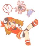 ! !? 1girl :d ? arm_up bandanna bangs bike_shorts blue_eyes bright_pupils brown_hair clenched_hands eyebrows_visible_through_hair gloves hair_between_eyes haruka_(pokemon) kanchou lileep long_hair looking_at_another open_mouth pokemon pokemon_(creature) pokemon_(game) pokemon_rse popped_collar pouch red_shirt red_shoes shirt shoes short_sleeves simple_background smile solo speech_bubble spoken_exclamation_mark spoken_question_mark sweat white_background