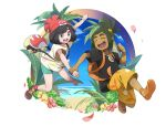 1boy 1girl abitu backpack bag bangs bangs_pinned_back beanie black_hair black_shirt blue_eyes blue_sky closed_eyes dark_skin dark_skinned_male female_protagonist_(pokemon_sm) floral_print flower green_hair green_shorts hair_ornament hairclip hat hau_(pokemon) hibiscus jumping looking_at_another messenger_bag npc npc_trainer ocean palm_tree petals player_character pokemon pokemon_(game) pokemon_sm red_hat rival_(pokemon) shirt shoes short_hair short_ponytail short_sleeves shorts shoulder_bag sky smile sneakers swept_bangs t-shirt tied_shirt tree yellow_shorts z-ring