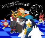 backwards_hat blue cabbit ears fluffy furry goggles goggles_on_head guntz hat highres kaze_no_klonoa klonoa overalls overm00n pango ponytail reptile shirt table tail wolf wolf_tail zipper