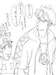 2boys age_difference animal animal_on_head backpack bag bangs baseball_cap chain_necklace guzuma_(pokemon) hat highres hirokou hood hoodie jacket litten looking_at_another male_focus male_protagonist_(pokemon_sm) monochrome multiple_boys open_clothes open_jacket pokemon pokemon_(creature) pokemon_(game) pokemon_sm shirt short_hair simple_background sketch striped striped_shirt sunglasses sunglasses_on_head swept_bangs t-shirt translation_request upper_body white_background