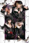 4boys ao666 bandaged_arm bat belt belt_buckle black_boots black_gloves black_hair black_hat black_jacket black_nails black_pants blonde_hair boots bouquet brown_eyes brown_hair buckle carrying_over_shoulder closed_mouth coin_(ornament) collar cropped_jacket cross cross_necklace dark_skin dark_skinned_male earrings ensemble_stars! eyelashes fingerless_gloves flower fringe fur_trim gloves grey_hair grin hair_between_eyes hakaze_kaoru hand_on_headwear hand_on_hip hands_up hat holding holding_bouquet holding_flower jacket jewelry jumping long_sleeves looking_at_viewer looking_to_the_side male_focus multiple_boys nail_polish necklace oogami_koga open_clothes open_jacket otogari_adonis outstretched_arm pants parted_lips peaked_cap petals pink_hair profile purple_hair red_eyes red_rose rose sakuma_rei_(ensemble_stars!) shoe_soles silhouette silver_hair smile spiked_collar spikes spread_fingers stud_earrings studded_bracelet undead_(ensemble_stars!) v v-neck yellow_eyes
