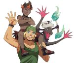 2boys alola_form alolan_marowak beanie black_hair blonde_hair blue_eyes carrying crossed_arms dark_skin dark_skinned_male facial_hair hat hiker_(pokemon) kaki_(pokemon) leaf leaf_on_head looking_at_viewer male_focus marowak multicolored_hair multiple_boys npc npc_trainer pokemon pokemon_(creature) pokemon_(game) pokemon_sm salazzle shirtless short_hair shorts shoulder_carry shoulder_tattoo smile stubble tan tank_top tattoo tetsuyoh trial_captain two-tone_hair very_dark_skin waving