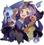 1girl :3 :d acerola_(pokemon) amakoke armlet bangs bare_arms collarbone costume dress elite_four fire flat_chest flipped_hair froslass gem hair_ornament half_updo hitodama mimikyu_(pokemon) npc npc_trainer open_mouth pikachu_costume pokemon pokemon_(creature) pokemon_(game) pokemon_sm purple_dress purple_hair sableye short_hair simple_background smile solo stitches torn_clothes torn_dress torn_sleeves trial_captain white_background