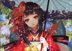 1girl bangs bell blunt_bangs blurry_background closed_mouth dripping eyelashes fish fish_hair_ornament flat_chest floral_print flower goldfish hair_ornament hana_(asml30) head_tilt holding holding_umbrella hydrangea japanese_clothes jingle_bell kagura_(onmyoji) kanzashi kimono long_hair long_sleeves looking_at_viewer obi onmyoji oriental_umbrella rain red_eyes red_lips sash short_hair_with_long_locks sidelocks solo umbrella upper_body wide_sleeves