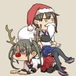 2girls all_fours animal_costume antlers blue_skirt brown_background brown_eyes brown_hair christmas closed_mouth fake_beard green_hair hair_ribbon hakama_skirt hat holding holding_bag japanese_clothes jitome kaga_(kantai_collection) kantai_collection legs_crossed long_hair looking_to_the_side lowres multiple_girls muneate o_o red_nose red_skirt ree_(re-19) reindeer_antlers reindeer_costume ribbon sack santa_costume santa_hat side_ponytail simple_background sitting sitting_on_person skirt tasuki thigh-highs twintails white_ribbon zuikaku_(kantai_collection)