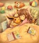 1girl ^_^ ball blanket blush book brown_hair character_doll character_print character_request charmander cheek-to-cheek chestnut_mouth closed_eyes closed_mouth eevee flareon from_above hug jolteon long_hair lying matsuri_(matsuike) on_back on_side one_eye_closed open_book pikachu pillow poke_ball pokemon pokemon_(creature) sleeping smile squirtle stuffed_animal stuffed_toy teddiursa teddy_bear vaporeon
