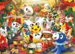 christmas christmas_ornaments christmas_tree dedenne delibird drifloon espurr furret gift hoothoot litten lucario meowth nutcracker official_art pichu pikachu pokemon popplio rowlet snorlax snover star