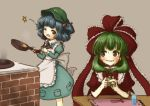 2girls ;d apron bangs blue_eyes blue_hair blush bow brick brown_background chopsticks cooking cup dress drinking_glass eyebrows eyebrows_visible_through_hair fidgeting frills front_ponytail frying_pan green_dress green_eyes green_hair hair_bobbles hair_bow hair_ornament hair_ribbon hat head_tilt holding juliet_sleeves kagiyama_hina kawashiro_nitori long_hair long_sleeves looking_at_another looking_to_the_side multiple_girls nervous nervous_smile one_eye_closed open_mouth playing_with_own_hair pocket puffy_short_sleeves puffy_sleeves red_bow red_dress red_ribbon ribbon ribbon_trim short_sleeves simple_background smile smoke standing star stove sweat sweatdrop tikano tokin_hat touhou two_side_up waist_apron