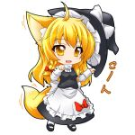 1girl ahoge animal_ears apron blonde_hair blush bow cosplay dress fang fox_ears fox_tail hat kazami_karasu keminomimi_mode kirisame_marisa kirisame_marisa_(cosplay) solo tail touhou waist_apron yellow_eyes youkai_fox_(wild_and_horned_hermit)