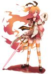 1girl :/ badge black_shoes breasts button_badge choker collarbone flaming_hair frown full_body gen'ei_wo_kakeru_taiyou gloves hair_over_one_eye hair_ribbon highres holding holding_sword holding_weapon looking_away magical_girl mary_janes medium_breasts necktie one_side_up orange_hair panikuru_yuuto pool_of_blood red_eyes red_skirt ribbon ripples shoes simple_background skirt solo sparkle standing striped striped_legwear striped_necktie striped_ribbon sword taiyou_akari tarot thigh-highs weapon white_background white_gloves zettai_ryouiki