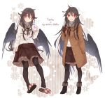 1girl :d alternate_costume arm_at_side backpack bag bird_wings black_wings boots brown_hair butterfly buttons coat contemporary cup feathered_wings flower frilled_skirt frills full_body fur-lined_boots hair_between_eyes highres holding holding_cup long_hair long_sleeves looking_at_viewer multiple_views no_headwear one_eye_closed open_mouth pantyhose partially_unbuttoned red_eyes reiuji_utsuho single_shoe skirt slippers smile standing steam touhou toutenkou turtleneck wings