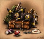 backpack bag black_eyes character_name closed_mouth full_body lantern letter looking_at_viewer lying matsuri_(matsuike) no_humans on_stomach poke_ball pokemon pokemon_(creature) potion red_sclera sack scroll smile suitcase ticket umbreon