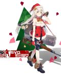 1girl copyright_name doll dragunov_svd full_body girls_frontline green_eyes gun hair_ornament hair_ribbon hairclip hat highres holding holding_gun holding_weapon long_hair low-tied_long_hair official_art ribbon rifle santa_costume santa_hat simple_background smile sniper_rifle solo svd_(girls_frontline) thigh-highs weapon white_background white_hair