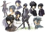 1boy black_hair black_jacket blush_stickers boots character_name decoponmagi final_fantasy final_fantasy_xv fingerless_gloves gloves jacket male_focus multiple_views noctis_lucis_caelum single_glove spiky_hair sweatdrop sword weapon