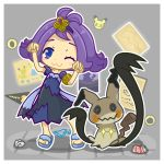 >_< +_+ 1girl ;3 acerola_(pokemon) armlet banner blue_eyes blush border chibi closed_eyes closed_mouth costume crumpled_paper dress elite_four flipped_hair full_body hair_ornament half_updo highres kawamochi_(mocchii) mimikyu_(pokemon) outline paper picture_(object) pikachu pikachu_costume pokemon pokemon_(creature) pokemon_(game) pokemon_sm purple_hair sandals shadow short_hair short_sleeves smile standing stitches tin_can torn_clothes torn_dress torn_sleeves trial_captain