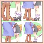 1girl 4koma alice_margatroid apron bent_over blonde_hair blue_dress boots bow comic commentary cosplay dress frilled_legwear hair_bow highres implied_kiss kirisame_marisa kirisame_marisa_(cosplay) lonely lower_body meme optical_illusion parody shoes_on_hands short_hair silent_comic socks solo standing touhou waist_apron yoruny