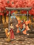 1girl ^_^ autumn_leaves bamboo_broom blush broom brown_hair closed_eyes covering_mouth day full_body growlithe holding japanese_clothes long_hair matsuri_(matsuike) miko outdoors pokemon pokemon_(creature) ponytail seedot shiftry standing statue torii volcarona