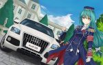 >:) 1boy 1girl audi audi_q5 beard black_eyes blue_sky building butler car clouds cloudy_sky crusch_karsten facial_hair garrison_cap gloves green_hair ground_vehicle hat holding long_hair looking_at_viewer mansion motor_vehicle mustache re:zero_kara_hajimeru_isekai_seikatsu sky sword tianyu_jifeng tree weapon white_gloves white_hair wilhelm_(re:zero) yellow_eyes
