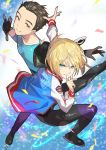 2boys black_gloves black_hair blonde_hair blue_eyes finger_to_mouth gloves hair_slicked_back ice_skates ice_skating index_finger_raised jacket katsuki_yuuri looking_at_viewer male_focus multiple_boys red_eyes saitou_naoki short_hair skates skating smile sparkle sportswear yuri!!!_on_ice yuri_plisetsky