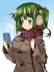 1girl ase_(nigesapo) blue_eyes breasts cellphone coat daiyousei earmuffs fairy_wings green_hair large_breasts long_hair long_sleeves low_wings phone scarf side_ponytail smartphone touhou wings winter_clothes winter_coat